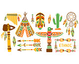 American Indian Ethnic Elements Boho Style Design Set