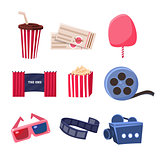 Movie Theater Related Objects Set