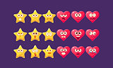 Stars And Hearts Emoji Character Set