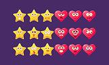 Stars And Hearts Emoji Character Set