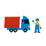 Worker And Delievery Truck
