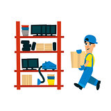 Worker Bringing Box To Store On The Shelf