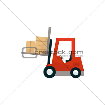 Forklift Machine Loading The Boxes