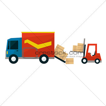 Boxes Falling Out From Cargo Truck And Forklift Machine