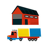 Storehouse And Long Distance Cargo Truck