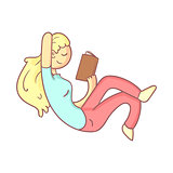 Girl Reading A Book Half Laying