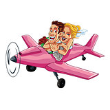 Just Married Couple Riding Plane
