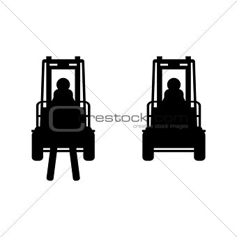 Black vector fork lift truck icon