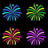 Colorful vector firework design elements