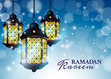 Ramadan Lantern or Fanous with Ramadan Kareem Greetings in a blurry blue Background. 3D Realistic Vector Illustration