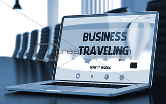 Business Traveling on Laptop in Conference Room.