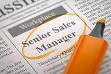 Senior Sales Manager Hiring Now.