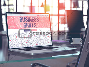 Business Skills Concept on Laptop Screen.