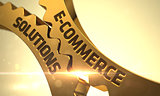 Golden Cog Gears with E-Commerce Solutions Concept.