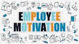 Multicolor Employee Motivation on White Brickwall. Doodle Style.