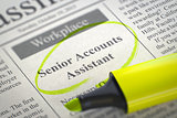Senior Accounts Assistant Wanted.