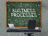 Business Processes on Chalkboard with Doodle Icons.