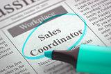 Sales Coordinator Wanted.