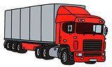 Red long semitrailer