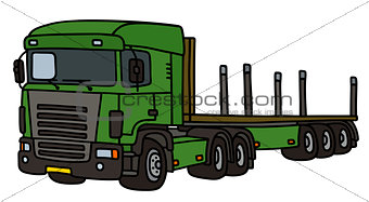 Green flat semitrailer