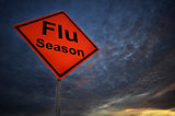 Flu season warning road sign