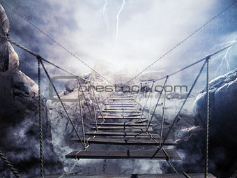3D Rendering unstable bridge during a thunderstorm