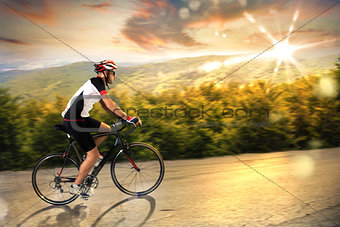 Cyclist at sunset
