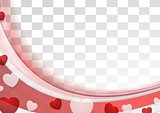 Red wavy abstract background with hearts