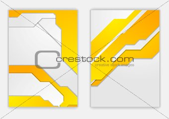 Abstract orange grey geometric tech flyer design