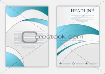 Abstract blue grey wavy corporate flyer design
