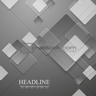 Grey geometric tech background with glass squares