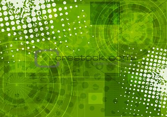 Bright green grunge tech background