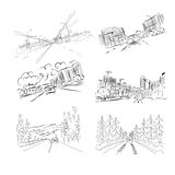 Cars on city road, set of hand drawn illustrations for your design