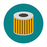 Car oil filter icon flat
