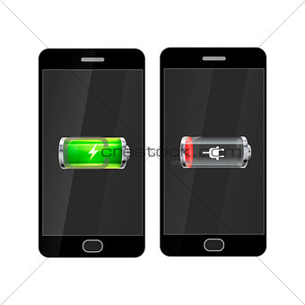 Black smartphones with full and empty glossy battery icons on white