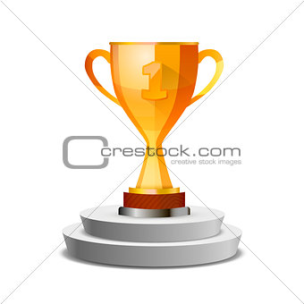 Bright glossy winner cup on white pedestal