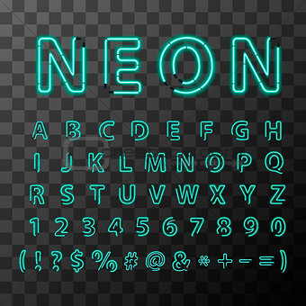 Bright neon letters, full latin alphabet on transparent background