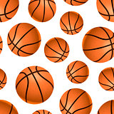 Many realistic basketball balls on white, seamless pattern