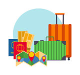 Travel suitcases symbols concept vector.