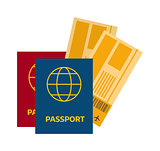 Vector illustration passport with tickets.