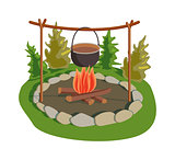 Pot on bonfire vector illustration.