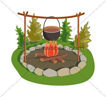 Pot on bonfire vector illustration.