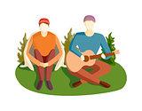 Guitar song vector illustration.
