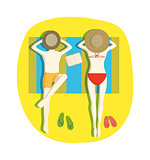 Couple on beach vector illustration.