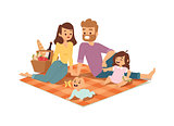 Family picnicking summer vector