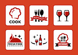 six restaurant icons set