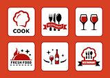 six restaurant icons set