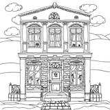 Black and white illustration of a house. Vector.