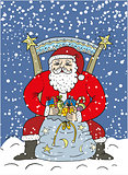 Santa Claus and bag with gifts