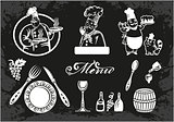 Set of chefs and food elements